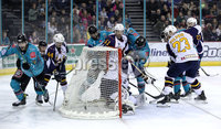 Press Eye - Belfast, Northern Ireland - 29th February 2020 - Photo by William Cherry/Presseye. Belfast Giants\' Jordan Smotherman scoring against the Guildford Flames during Saturday nights Elite Ice Hockey League game at the SSE Arena, Belfast.    Photo by William Cherry/Presseye