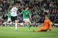 PressEye-Northern Ireland- 9th September  2019-Picture by Brian Little/PressEye. Northern Ireland  goal keeper  Bailey Peacock-Farrell  saves a shot from  Germany Timo Werner    during Monday\'s  European Championship Qualifying Group C match  at the National  Football Stadium at Windsor Park,Belfast.. Picture by Brian Little/PressEye .
