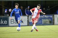 Bet McLean League Cup 3rd Round, Stangmore Park, Dungannon   8/10/2019. Dungannon Swifts FC  vs Linfield FC. Dungannon Swifts Rhys Campbell and Stephen Fallon  of Linfield .. Mandatory Credit  INPHO/Brian Little