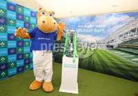 Press Eye - Belfast - Northern Ireland - 16th May 2018. First day of the 2018 Balmoral Show, in partnership with Ulster Bank, at Balmoral Park.  Ulster Bank has the NatWest Six Nations trophy at its stand over the four days of this year's Balmoral Show. Visitors to the show today had the chance to have their photo taken with the trophy which Ireland claimed this year as part of their Grand Slam success. Pictured with the trophy is Ulster Bank Henry The Hippo. . Picture by Jonathan Porter/PressEye