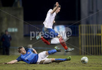 Danske Bank Premiership, Mourneview Park, Co. Armagh 3/4/2018 . Glenavon vs Linfield. Mandatory Credit ©INPHO/William Cherry. Glenavon\'s Sammy Clingan with Linfield\'s Andrew Waterworth