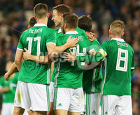Press Eye Belfast - Northern Ireland 11th September 2018. International Challenge match at the National Stadium at Windsor Park in Belfast.  Northern Ireland Vs Israel. . Northern Ireland\'s Stuart Dallas celebrates after scoring to make it 2-0. . Picture by Jonathan Porter/PressEye.com