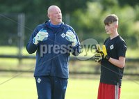 PressEye-Northern Ireland- 19th August  2019-Picture by Brian Little/PressEye. Northern Ireland U16 goal keeping coach Paul Kee  against  Estonia U16   during Monday evening\'s challenge match at Breda Park (Knockbreda FC).. Picture by Brian Little/PressEye .