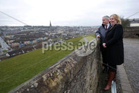 Press Eye - Belfast - Northern Ireland - 5th March 2018 -  . Visiting Londonderry on Monday 5 March 2018, Secretary of State for Northern Ireland Karen Bradley MP toured its stunning 17th century walls escorted by Visit Derry Manager Odhran Dunne who updated her on the city's growth and importance as a thriving tourist destination.. Photo by Kelvin Boyes / Press Eye..