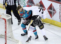 Press Eye - Belfast -  Northern Ireland - 12th January 2018 - Photo by William Cherry/Presseye. Belfast Giants John Kurtz fights Nottingham Panthers Mathieu Gagnon during Friday nights Elite Ice Hockey League game at the SSE Arena, Belfast.