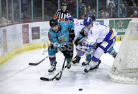 Press Eye - Belfast, Northern Ireland - 06th March 2020 - Photo by William Cherry/Presseye. Belfast Giants\' Liam Morgan with Fife Flyers\' Michal Gutwald during Friday nights Elite Ice Hockey League game at the SSE Arena, Belfast.   Photo by William Cherry/Presseye