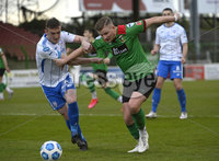 4th May 2021. Danske Bank Irish league,The Oval,Belfast.. Glentoran v Coleraine . Glentorans  Andy Mitchell  in action with Coleraines  Stephen ODonnell. Mandatory Credit Inpho/Stephen Hamilton