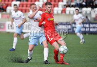 9th May 2018. Europa league play off semi final match between Cliftonville and Ballymena United at Solitude in Belfast.. Cliftonvilles Rory Donnelly in action with Ballymena\'s Stephen McAlorum. Mandatory Credit ©Inpho/Stephen Hamilton