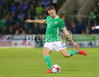 Press Eye Belfast - Northern Ireland 11th September 2018. International Challenge match at the National Stadium at Windsor Park in Belfast.  Northern Ireland Vs Israel. . Northern Ireland\'s Jonny Evans. Picture by Jonathan Porter/PressEye.com