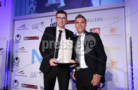 Press Eye - Belfast - Northern Ireland - 7th May 2018  - . NI Football Awards at the Crowne Plaza Hotel.. . The Jordan\'s Gift Goal of the Season - . Jared Kennedy of Jordan's Gift makes a presentation to Billy Joe Burns, left.. Photo by Kelvin Boyes / Press Eye .