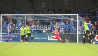 Danske Bank Premiership, Showgrounds, Coleraine 4/8/2018. Coleraine vs Warrenpoint. Warrenpoint goalkeeper Jonny Parr can\'t stop Coleraine\'s Ian Parkhill from scoring a goal. Mandatory Credit ©INPHO/Lorcan Doherty
