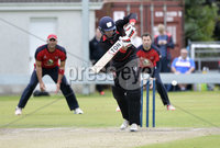 . Press Eye Belfast - Northern Ireland 12th August 2017.  Waringstown v Pembroke - Irish Cup Semi Final at the Lawn.. Andrew Balbirnie batting for Pembroke..   Photo by Stephen  Hamilton / Press Eye