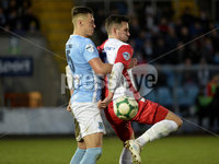 Danske Bank Premiership, The Showgrounds Ballymena 5/04/2019. Ballymena United v Linfield. Ballymena\' s  Scot Whiteside with Linfield\'s Andy Waterworth. Mandatory Credit INPHO/Stephen Hamilton.