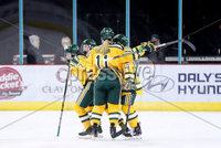 Press Eye - Belfast -  Northern Ireland - 05th January 2019 - Photo by William Cherry/Presseye. Northeastern University players celebrate scoring against Clarkson University during Saturdays inaugural Womens Friendship Series game at the SSE Arena, Belfast.   Photo by William Cherry/Presseye
