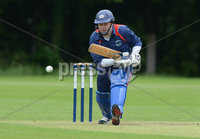 Mandatory Credit: Rowland White/Presseye. Cricket: Irish Senior Cup. Teams: CSNI (light blue) v Derriaghy (dark blue). Venue: Stormont. Date: 9th June 2012. Caption: Matthew Jennings, Derriaghy