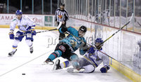 Press Eye - Belfast, Northern Ireland - 06th March 2020 - Photo by William Cherry/Presseye. Belfast Giants\' Lewis Hook with Fife Flyers\' Paul Crowder  during Friday nights Elite Ice Hockey League game at the SSE Arena, Belfast.   Photo by William Cherry/Presseye