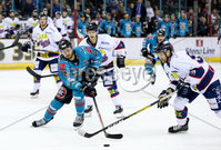 Press Eye - Belfast -  Northern Ireland -16th November 2019 - Photo by Darren Kidd/Presseye . Belfast Giants\' Ciaran Long with Dundee Stars\' Drydn Dow during Saturday nights Elite Ice Hockey League game at the SSE Arena, Belfast.    Photo by Darren Kidd/Presseye