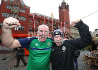 Press Eye - Belfast -  Northern Ireland - 11th November 2017 - Photo by William Cherry/Presseye. Northern Ireland fans Ronald and Michael Brown in Basel ahead of Sunday nights World Cup Play Off against Switzerland at at St. Jakob-Park, Basel.