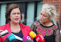 Press Eye - Belfast - Northern Ireland - 16th April 2018. Sinn Fein\'s President Mary Lou McDonald and their northern leader Michelle O\'Neill speak to the media outside the party office on the Falls Road in west Belfast regarding the ongoing issues at Stormont. . Picture by Jonathan Porter/PressEye
