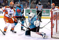 Press Eye - Belfast -  Northern Ireland - 05th January 2018 - Photo by William Cherry/Presseye. Belfast Giants Jackson Whistle with Sheffield Steelers Mathieu Roy during Friday nights Elite Ice Hockey League game at the SSE Arena, Belfast