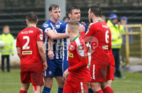 Danske Bank Premiership Play-Off, The Ballymena Showgrounds, Co. Antrim 7/4/2018 . Coleraine vs Cliftonville. Players scuffle during the game . Mandatory Credit ©INPHO/Freddie Parkinson
