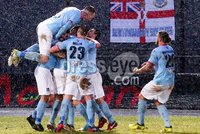Bet McLean Cup Semi-Final, Showgrounds, Co. Antrim 10/2/2018. Ballymena United vs Cliftonville. Ballymena celebrate after scoring. Mandatory Credit ©INPHO/Jonathan Porter