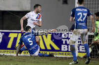 Danske Bank Premiership, Mourneview Park, Co. Armagh 3/4/2018 . Glenavon vs Linfield. Mandatory Credit ©INPHO/William Cherry. Linfield\'s Stephen Lowry scoring against Glenavon