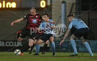 Picture credit © Matt Mackey - Presseye.com . Belfast - Northern Ireland - 12th February 2016.            . Danske Bank Premiership Ballymena United v Coleraine at the Showgrounds Ballymena.. Ballymena\'s Paddy McNally in action with Coleraine\'s Sammy Morrow.
