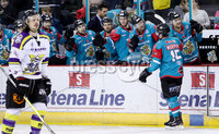 Press Eye - Belfast -  Northern Ireland - 11th February 2018 - Photo by William Cherry/Presseye. Belfast Giants Darcy Murphy celebrates scoring against Manchester Storm during Sunday afternoons Elite Ice Hockey League game at the SSE Arena, Belfast.