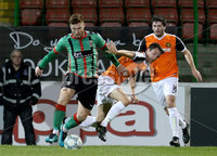 BetMcLean League Cup Round 3, The Oval, Belfast 10/10/2017. Glentoran vs Carrick Rangers. Glentoran\'s Kym Nelson with Carrick Rangers\' Mark Surgenor. Mandatory Credit ©INPHO/Matt Mackey