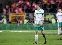 Press Eye - Belfast -  Northern Ireland - 12th November 2017 - Photo by William Cherry/Presseye. Northern Ireland\'s Jonny Evans is dejected after drawing 0-0 with Switzerland but lost the World Cup Play Off 1-0 over the two games.