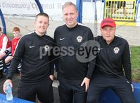 PressEye-Northern Ireland- 27th   July  2018-Picture by Brian Little/PressEye. SuperCupNI. Minor  Section . Bertie Peacock Youths  management team       during the SuperCupNI Minor Final  at Coleraine Showgrounds. . Picture by Brian Little/PressEye