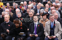 Wednesday 8th November 2017. . Picture by Press Eye.com. Secretary of State James Brokenshire, (front second right), attending The Service at the unveiling and dedication of the memorial for the victims of the 1987 Enniskillen Poppy Day Bomb.. ©presseye©