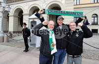 Press Eye - Belfast -  Northern Ireland - 07th October 2017 - Photo by William Cherry/Presseye. Northern Ireland fans Richard McPhillimy, Ian Bowden and David McCabe pictured at the Royal Palace in Oslo ahead of Sundays World Cup Qualifier against Norway at the Ullevaal Stadion, Oslo.   Photo by William Cherry/Presseye