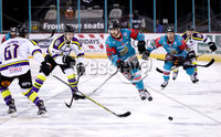 Press Eye - Belfast -  Northern Ireland - 11th February 2018 - Photo by William Cherry/Presseye. Belfast Giants Matt Towe with Manchester Storm\'s /m67/ during Sunday afternoons Elite Ice Hockey League game at the SSE Arena, Belfast.