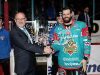 Press Eye - Belfast -  Northern Ireland - 10th March 2018 - Photo by William Cherry/Presseye. Odyssey Trust Chairman Eric Porter presents the Challenge Cup to Belfast Giants captain Blair Riley before Saturday evenings Elite Ice Hockey League game against Braehead Clan at the SSE Arena, Belfast.