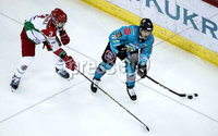 Press Eye - Belfast, Northern Ireland - 01st February 2020 - Photo by William Cherry/Presseye. Belfast Giants\' Bobby Farnham with Cardiff Devils\' Sean McMonagle during Sunday afternoons Elite Ice Hockey League game at the SSE Arena, Belfast.   Photo by William Cherry/Presseye
