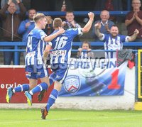 Danske Bank Premiership, Showgrounds, Coleraine 4/8/2018. Coleraine vs Warrenpoint. Coleraine\'s Ian Parkhill celebrates scoring a goal. Mandatory Credit ©INPHO/Lorcan Doherty