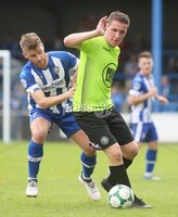 Danske Bank Premiership, Showgrounds, Coleraine 4/8/2018. Coleraine vs Warrenpoint. Warrenpoint\'s Alan O\'Sullivan and Coleraine\'s Stephen Lowry. Mandatory Credit ©INPHO/Lorcan Doherty