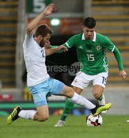 PressEye-Northern Ireland- 11th September  2018-Picture by Brian Little/ PressEye. Northern Ireland  Jordan Jones    and Israel Sheran Yeini    during  Tuesday\'s  Friendly International Challenge match at the National Football Stadium at Windsor Park.. Picture by Brian Little/PressEye .