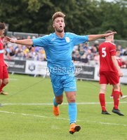 PressEye-Northern Ireland- 27th   July  2018-Picture by Brian Little/PressEye. SuperCupNI. Premier   Section . B Italia Buonavoglia Kevin Salvatore celebrates  opening  the scoring against Co Down        during the SuperCupNI Premier  Final  at Ballymena Showgrounds. . Picture by Brian Little/PressEye
