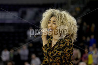 Press Eye - Belfast -  Northern Ireland - 30th November 2018 - Photo by William Cherry/Presseye. Erica Cody performs the American National Anthem at the Basketball Hall of Fame Belfast Classic at the SSE Arena, Belfast.