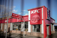 PressEye - Belfast - Northern Ireland - 06th February 2019. Fast-food outlet was targeted by men with a gun and a hatchet  at Brougham Street KFC next to Yorkgate in North Belfast on Tuesday night.. Picture: Philip Magowan / PressEye