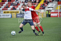 Press Eye Belfast - Northern Ireland 12th August 2017. Danske Bank Irish Premier league match between Cliftonville and Ards at Solitude Belfast.. Cliftonville\'s Stevie Garrett  in action with Ards Gregg Hall.  Photo by Stephen  Hamilton / Press Eye