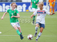 Press Eye - Belfast - Northern Ireland - 8th October 2019. European Women\'s U19 Championship 2020 Qualifying Round -  Northern Ireland Vs Norway, Seaview. Northern Ireland\'s Caitlin McGuiness with Norway\'s Celin Bizet Ildhusoy. Picture by Jonathan Porter/PressEye