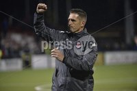 12th September 2017 . Danske Bank Irish premier league match between Crusaders and Linfield at Seaview.. Crusaders manager Stephen Baxter pictured at the end of tonights game ..  Photo by Stephen Hamilton /Inpho