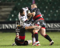 Guinness PRO14, Rodney Parade, Newport, Wales 1/12/2017. Dragons vs Ulster. Ulster\'s Charles Piutau tackled by Dragon\'s James Benjamin . Mandatory Credit ©INPHO/Bob Bradford