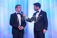 Press Eye - Belfast - Northern Ireland - 6th February 2017 -  . Belfast Telegraph Sports Awards 2016.. Award 5 - Special Recognition Award. Rally driver Kris Meeke won a Special Recognition Award, sponsored by Volvo. His brother Barry, picked up the award on his behalf, from Philip Houston, Volvo dealer, SMW, Belfast and rally legend Paddy Hopkirk..  . Barry Meeke with Craig Doyle.. Photo by Kelvin Boyes / Press Eye..