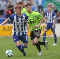 Danske Bank Premiership, Showgrounds, Coleraine 4/8/2018. Coleraine vs Warrenpoint. Coleraine\'s Ben Moore and Warrenpoint\'s Eamon Scannell. Mandatory Credit ©INPHO/Lorcan Doherty