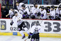 Press Eye - Belfast -  Northern Ireland - 10th March 2018 - Photo by William Cherry/Presseye. Braehead Clan\'s Brendan Brooks celebrates scoring against the Belfast Giants during Saturday evenings Elite Ice Hockey League game at the SSE Arena, Belfast.
